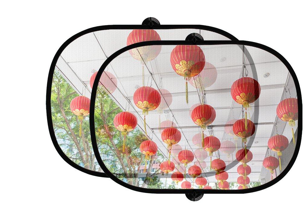 天井装飾中国提灯2pcs折りたたみ式自動ウィンドウサンシェードメッシュ B0758ZN128