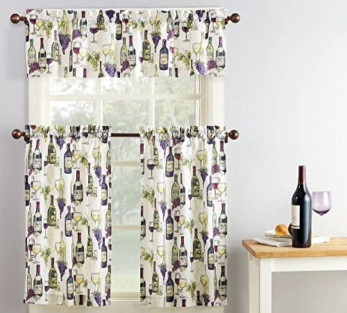 Home Fashions Wine Bottles Grapes Kitchen Window Curtain Set 3 Pc