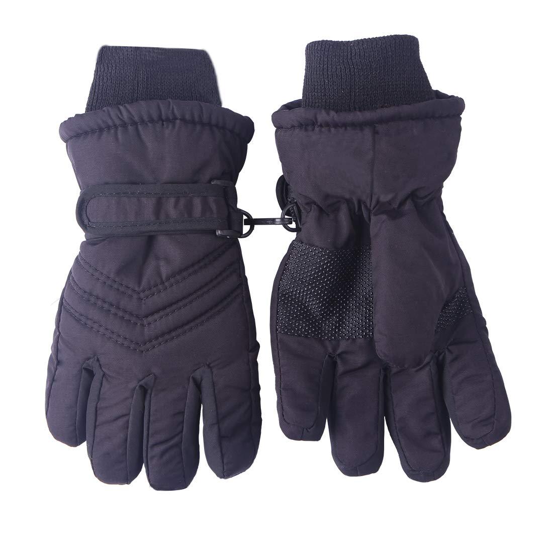 Kids Boys Girls Cold Whehter Winter Gloves Ski Driving Gloves Waterproof Black
