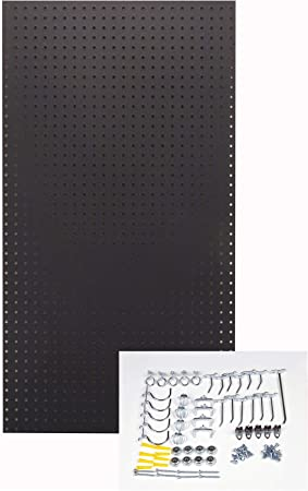 Triton 2 Products Peg36 Blk Wall Ready Black Pegboard Kit 24 In W X 42 In H X 1 4 In D Heavy Duty High Density Fiberboard Round Hole Pegboards With 36 Pc Locking Hook Assortment Amazon Com