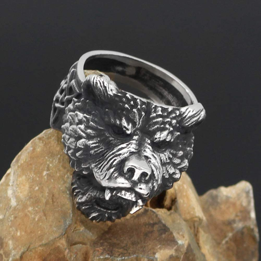 in acciaio inossidabile Anello da uomo con orso vichingo guerriero colore: argento e nero WTZWY