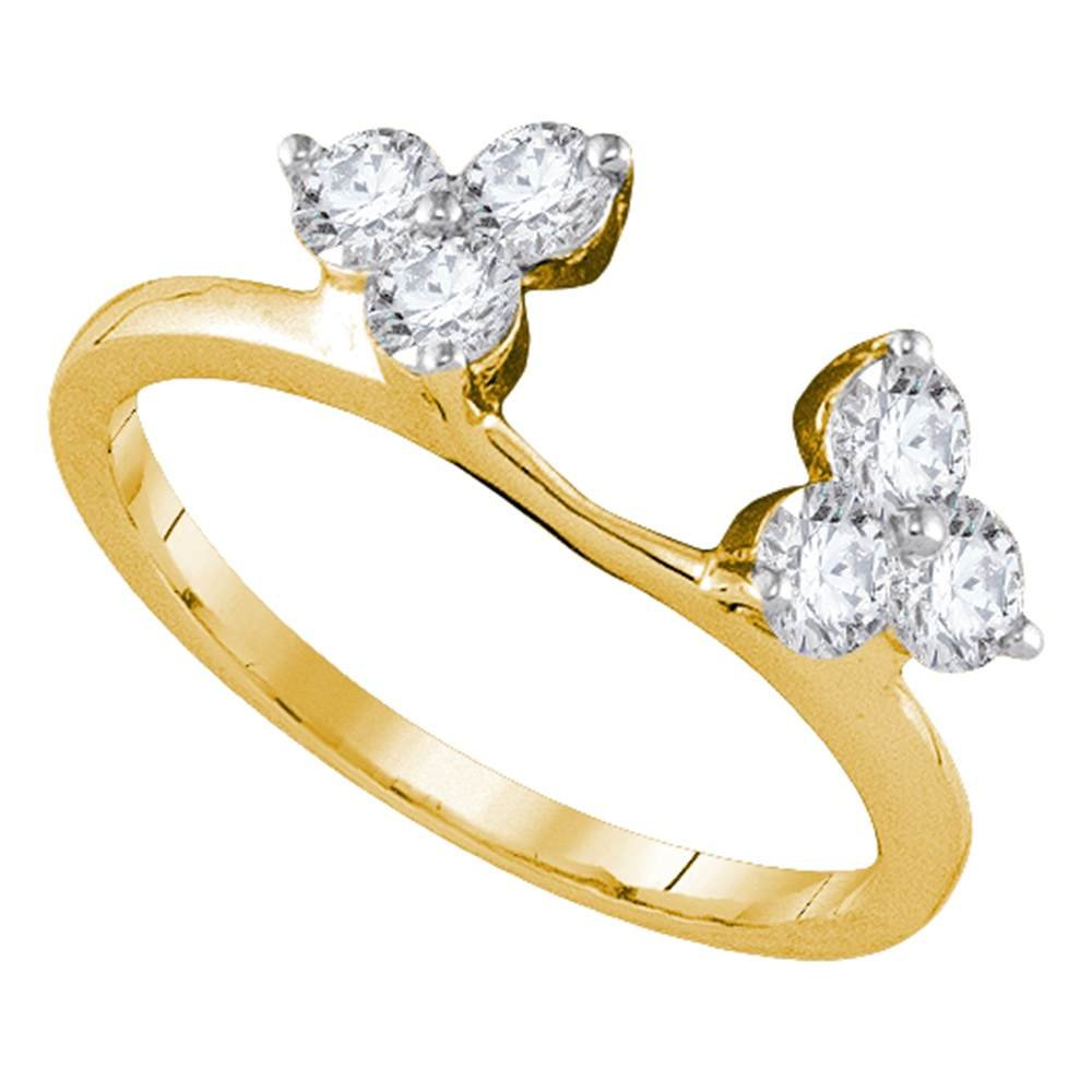 Flower Diamond Ring Guard Enhancer 14k Yellow Gold Band Round Fashion Style Polished Finish Fancy 3/4 ctw by GemApex