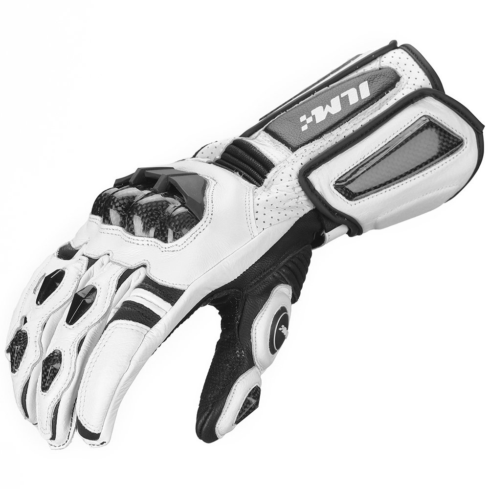 ILM Air Flow Leather Motorcycle Gloves For Men and Women (M, WHITE-LONG)
