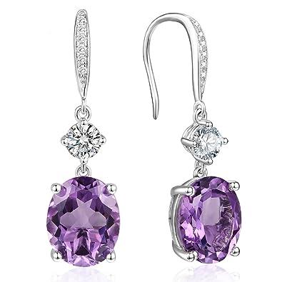 6a5e58ba7 925 Silver Oval Amethyst Drop Hook Dangle Earrings CZ Halo Earrings for  Girls