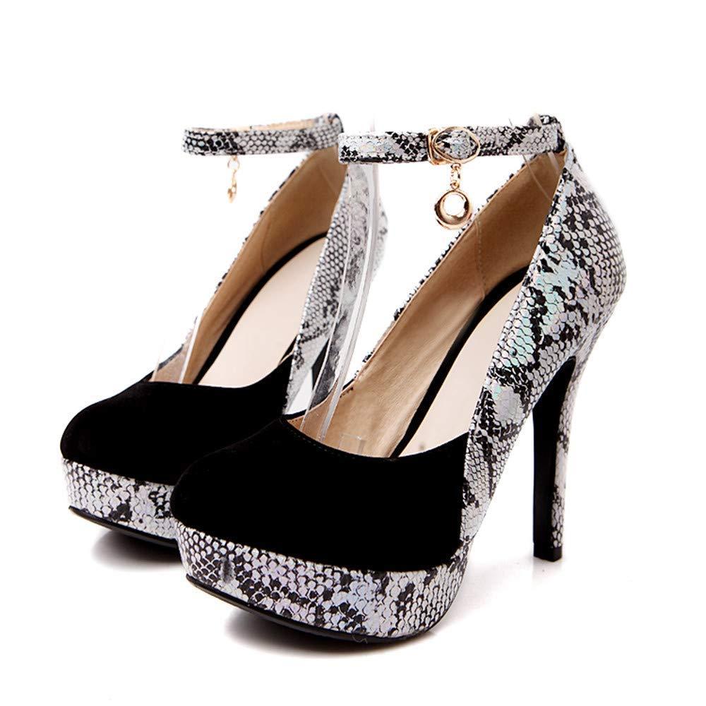ZHRUI Stiefel Damen Schuhe Mode Damen Snakeskin Runde Toe Toe Toe Schuhe Lace-Up High Heel Casual Single Schuhe (Farbe   Schwarz 1, Größe   39 EU) 2fa281