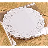 "Dealglad 100pcs White Round Paper Doilies Food Grade Disposable Party Cake Placemats Laciness Tableware Decoration (5.5""(14cm))"