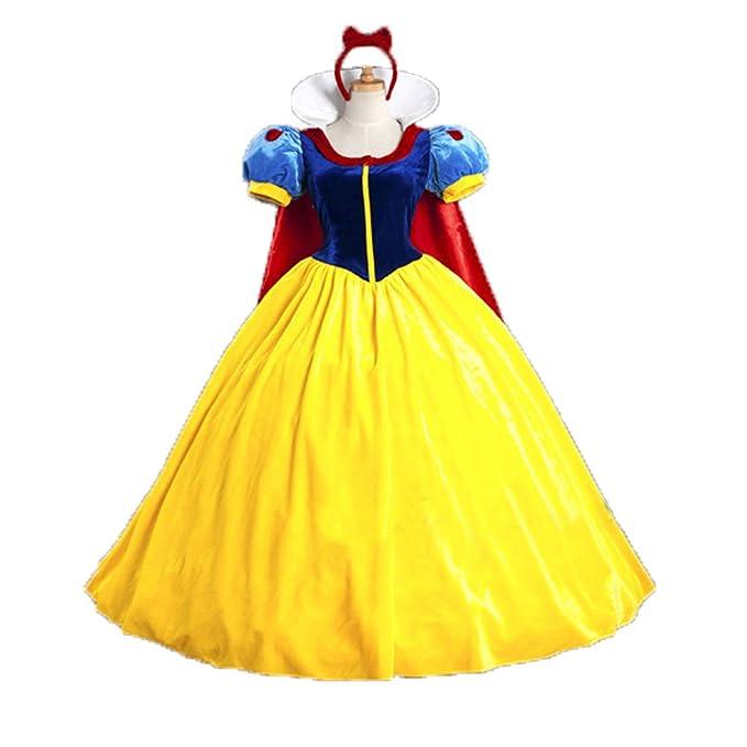 Cosfun Halloween Cartoon Costume Snow White Costume Dress With Cape