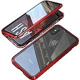UNIQUEスマホiPhone X/XS ケース iPhone X/XSカバー 透明 両面強化ガラス 360°全面保護 アイフォンX/XS ケース マグネット式 金属ケース ワイヤレス充電 対応 軽量 薄型 レンズ保護 耐衝撃 取り付けやすい