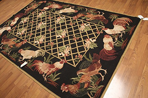 6'x9' Black, Brown, Olive, Multi Color Hand Woven Needlepoint Aubusson Rooster Wool Rug (Aubusson Rooster)