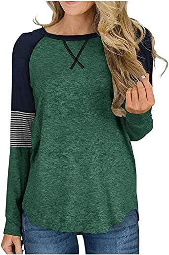 Briskorry Women's Color Block Patchwork Pullover Round Neck Tunic Tops Casual Long Sleeve Loose Shirt Blouse Army Green