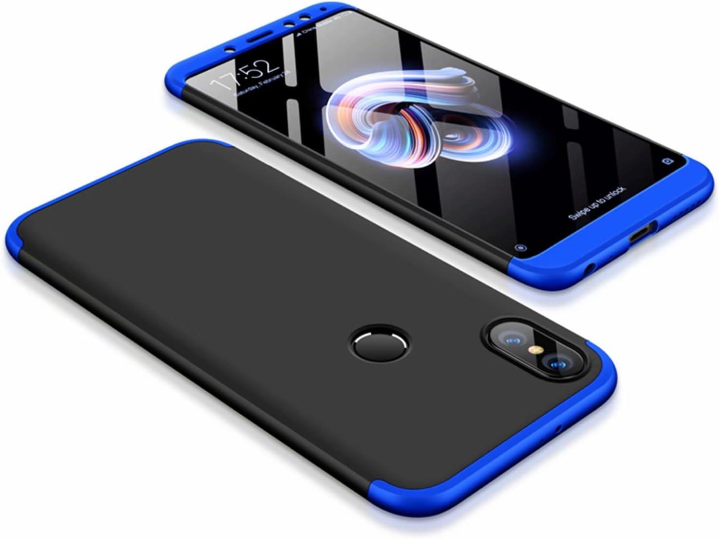 DESCHE compatibles con funda Xiaomi Redmi Note 5 Azul Negro, PC duro Cubierta protectora Ultrafino Anti-rasguños Parachoque Mate Phone Case - Azul Negro