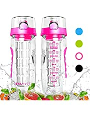 Balhvit Motivational Water Bottle, Leakproof Sports Water Bottle [BPA Free Tritan] Plastic Fruit Infuser Water Bottles with Time Markings, Safe Lock Design & Shatter Resistant Drinks Bottle
