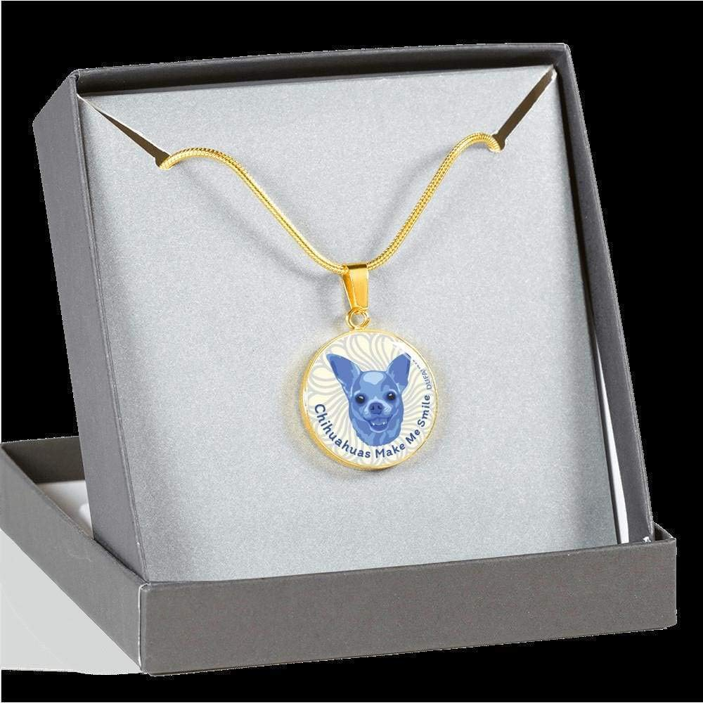 Many Colors DuFauna Blue//White Chihuahuas Make Me Smile Necklace D19 Steel or 18k Gold Finish 18-22