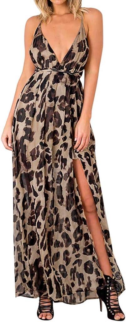 yoyorule-Summer Dress Womens Leopard Sleeveless Halter V-Neck Casual Ankle-Length Dress Summer Dress