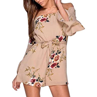 6e90246916 Beautytop Womens Off Shoulder Flared Sleeve Jumpsuit Halterneck Floral Print  Mini Playsuit Loose Jumpsuits For Women Summer Playsuits For Ladies Women  Mini ...
