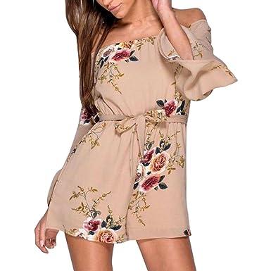 92a7da3811f Beautytop Womens Off Shoulder Flared Sleeve Jumpsuit Halterneck Floral  Print Mini Playsuit Loose Jumpsuits For Women Summer Playsuits For Ladies  Women Mini ...