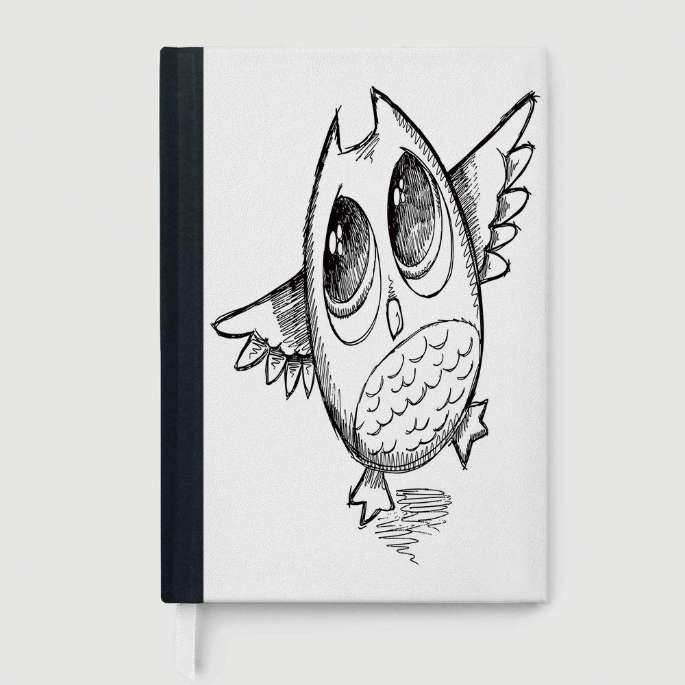 Amazon com doodle notebook sad owl almost crying with big eyes cartoon sketch crybaby hand drawn illustration decorative 96 sheets 192 pages