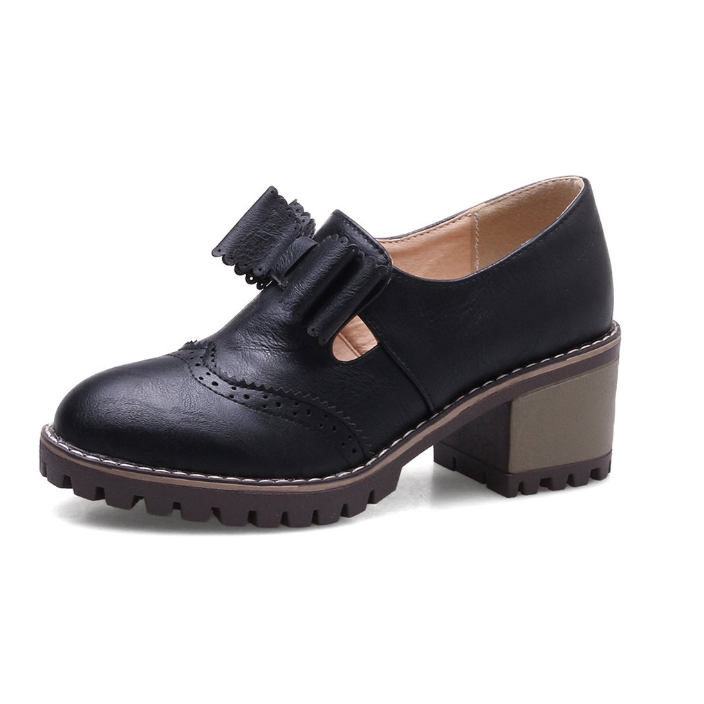 Oaleen Richelieu bloc rétro femme derbies nœud aspect cuir Noir chaussures derbies talon moyen bloc Noir 92b939b - latesttechnology.space
