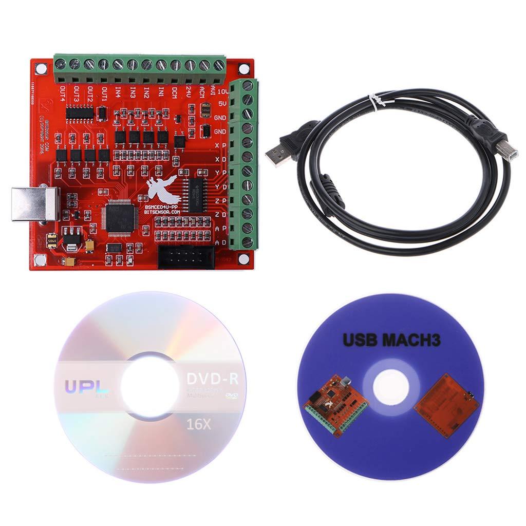 Runrain CNC USB Mach3 100 kHz Breakout Board 4 Axis Interface du pilote du contrô leur de mouvement