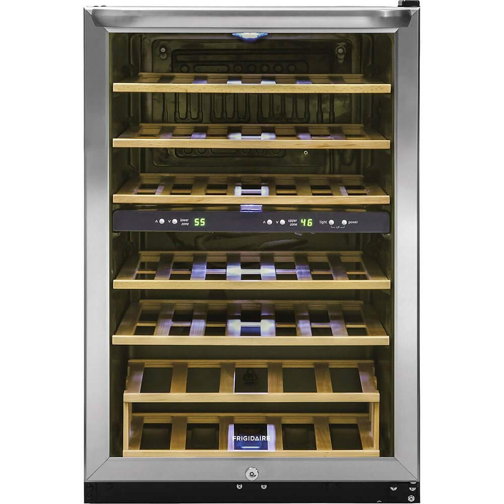 Frigidaire FFWC3822QS Two-Zone Wine Cooler with 38 Bottle Capacity Wooden Shelves Electronic Temperature Control Bright Lighting Stainless Steel Reversible Door and Front