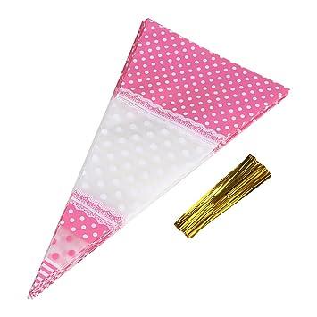 50Pcs Triángulo Clear Cono-Shaped Treat Bags con lazos de giro Bolsas de palomitas de maíz Treat Bolsas Bolsas de caramelo de celofán, ...