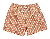 UZZI Dry Fast Microfiber Swim Shorts with Lining Flamingo Design (L, Coral)