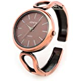 Copper Brushed Finish Oval Face Fashion Women's Bangle Cuff Watch
