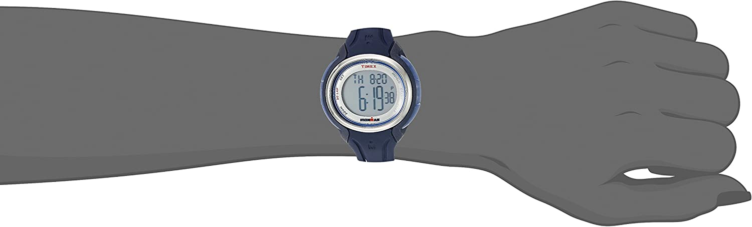 Timex Mid-Size Ironman Sleek 50 Round Silicone Strap Watch Dark Blue