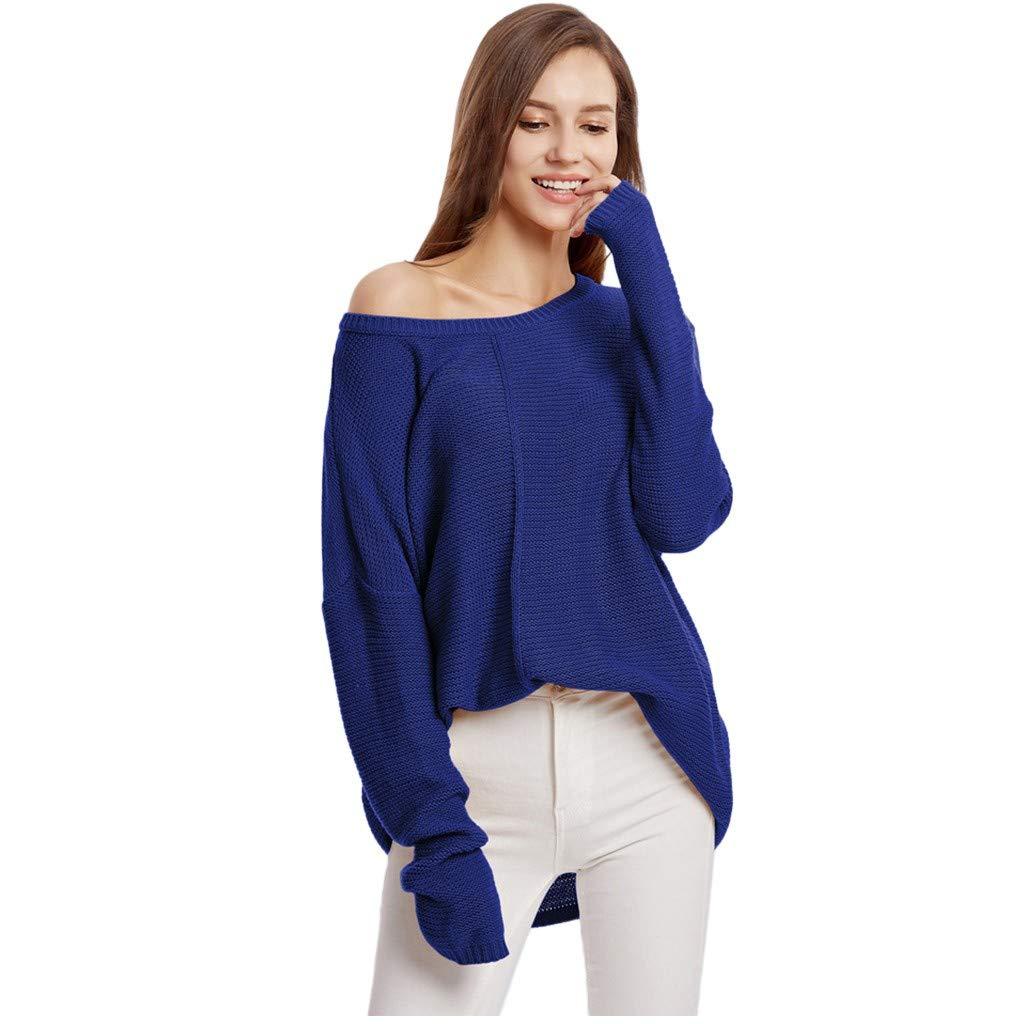 Yezijin Fashion Women Long Sleeve Solid Round Neck Blouse Top Casual Loose Sweatshirt 2019 Under 10 by Yezijin Long Sleeve Tops