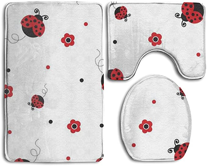 Amazon Com 3 Pcs Set Bathroom Non Slip Ladybug Style Pedestal Rug Lid Toilet Cover Bath Mat Kitchen Dining
