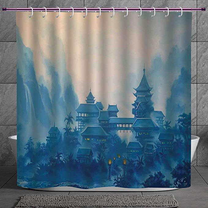 Unique Shower Curtain 2 0 Farm House Decor Chinese Temple Paint Mist With Lanterns At Night Artsy Oriental Religious Image Blue Machine Washable Shower Hooks Are Included Amazon In Home Kitchen