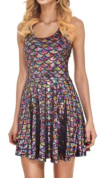 Amazon.com: jescakoo - vestido sin mangas con estampado de ...