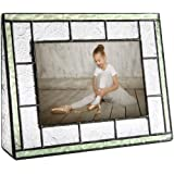 J Devlin Pic 122-46H Green Picture Frame Tabletop 4x6 Horizontal Photo Frame Sage Green Stained Glass Family