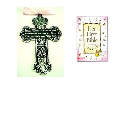 Amazon Baby Girls First Bible Crib Cross Gift Set Bless