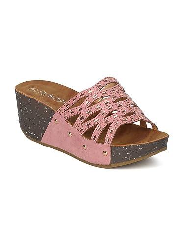 9581de9d295d9 Alrisco Women Faux Suede Open Toe Rhinestone Cutout Platform Wedge Sandal  GI44 - Mauve Faux Suede