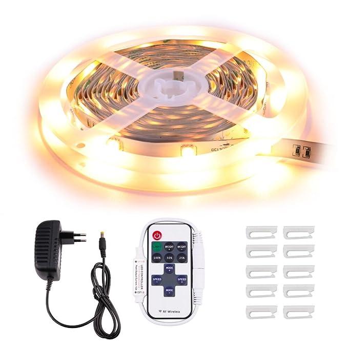 16 opinioni per Minger 5m Striscia LED 5050 12V Bianco Caldo 2700K, LED Strip Non Impermeabile