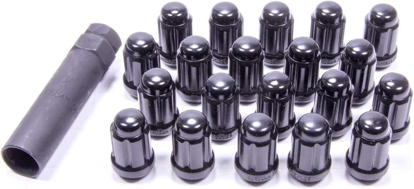 Gorilla Automotive 21123BC Small Diameter Acorn Black 5 Lug Kit (12mm x 1.25 Thread Size) - Pack of 20