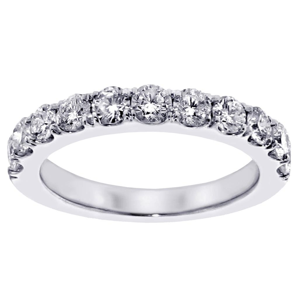1.00 CT TW Split Prong Round Diamond Wedding Band in 18k White Gold - Size 8