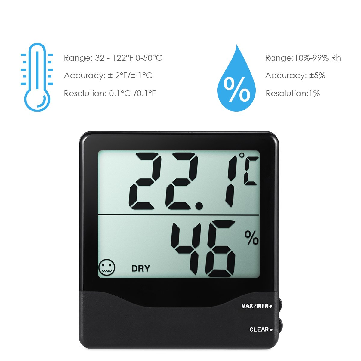 Amazon.com: AMIR Indoor Hygrometer Thermometer, Digital Temperature ...