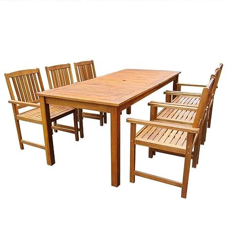 Set Tavolo E Sedie Da Giardino In Legno.Festnight Set Tavolo E Sedie Da Giardino Legno Massello Acacia