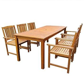 Festnight Salon de Jardin 1 Table et 6 Chaises d\'extérieur en Bois ...