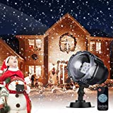 LED Snowfall Lights, LED Projector Snow Falling Lights for Garden, Snowflake Rotating LED Light, Outdoor Indoor Waterproof Halloween Christmas Decorative Lighting for Xmas Birthday Party Garden Wedding Easter Carnival Holida