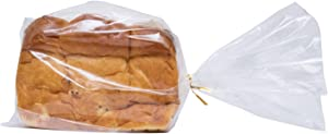 Wowfit Bread Poly Bags(PE Material) – Pack of 100 Entirely Transparent Clear Bakery Bags – Bread Loaf Packing Bags with 100 Gold Twist Ties – 8x4x18-Inch Grocery Bread Bags