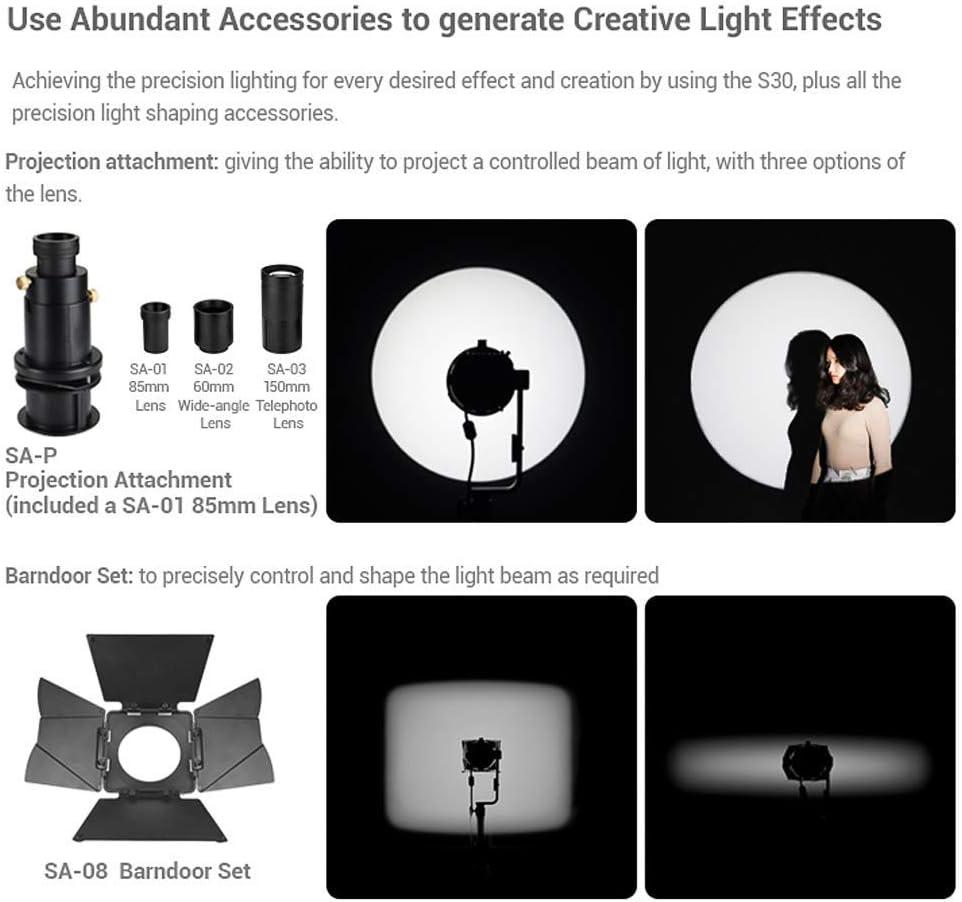 con Accesorios para Boda Retrato fotogr/áfico 5600 K torneado de v/ídeo//iluminaci/ón Kit de iluminaci/ón LED para Estudio Godox S30-D luz del d/ía y Control de la luz intensa