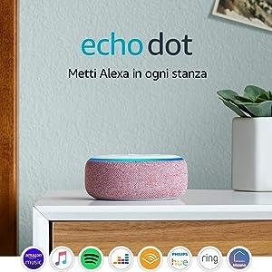Echo Dot (3ª generazione), Ricondizionato Certificato, Tessuto malva - Altoparlante intelligente con integrazione Alexa
