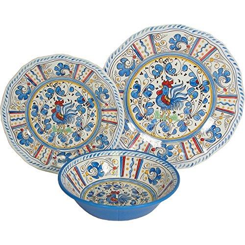 8 X Le Cadeaux Blue Rooster - 3 Piece Place Settings, 24 Piece Set by Le Cadeaux