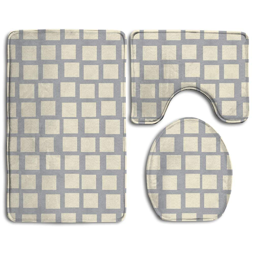 GNZYQ Brick Wall 3 Piece Bathroom Rug Set,Flange Blanket FaceBathroom Shower Mat The Bath Carpet Toilet Seat Assembly