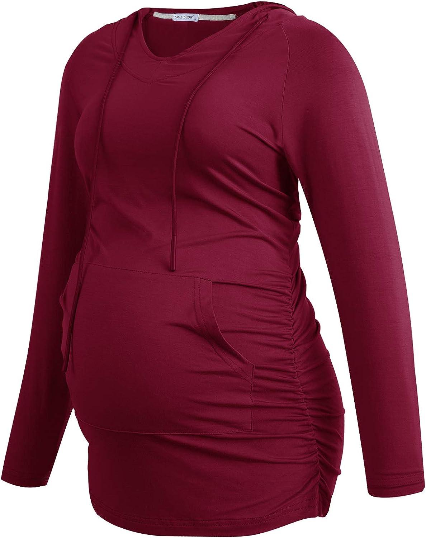 Smallshow Womens V Neck Maternity Hoodie Top Sweatshirt Pregnancy Clothes Tunic