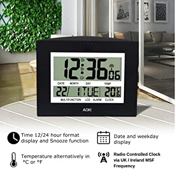 Clocks Alarm Clocks AOKI LCD Large Digital Wall Clock for