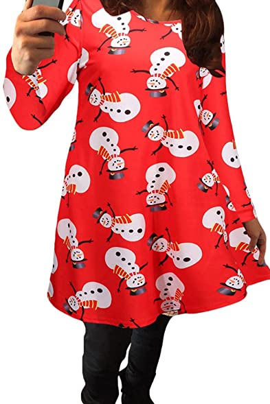 LaSuiveur Women's Christmas Santa Claus Printed Pullover Flared Dress , Snowman  Red , Small